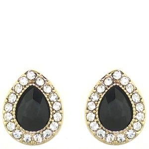 Monet Gold Tone & Black Crystal Stud Earrings 328